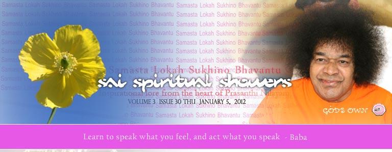 Sai Spiritual Showers:  VOLUME 3  issue 30 Thu JANUARY 5, 2012