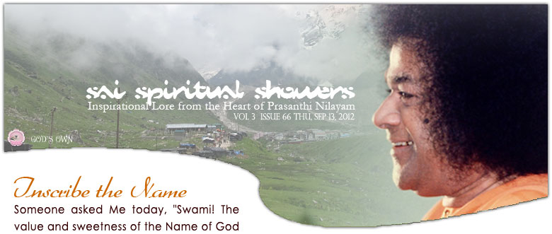 Sai Spiritual Showers: Volume 3  Issue 63 Thu, Sep 13, 2012