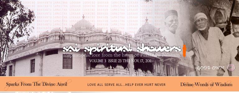 Sai Spiritual Showers:  VOLUME 3  issue 23 thu nov, 17, 2011