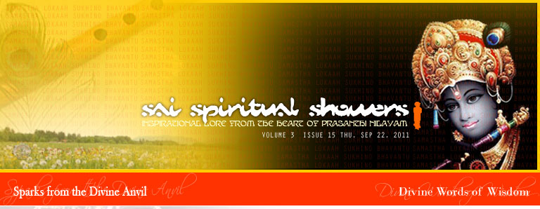 Sai Spiritual Showers: VOLUME 3  issue 15 thu, Sep 22, 2011