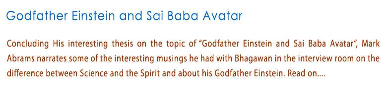 Godfather Einstein and Sai Baba Avatar